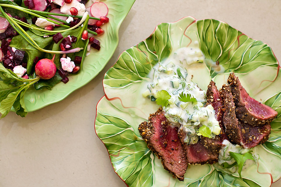 Grilled ostrich fillet with egyptian dukkah cucumber raita nutritionconfidence blog - Deseed pomegranate less one minute video ...